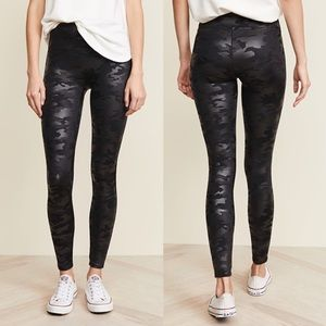 Spanx Faux Leather Black Camo High Rise Leggings M